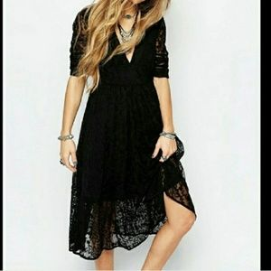 Free People Laurel Lace Black Dress